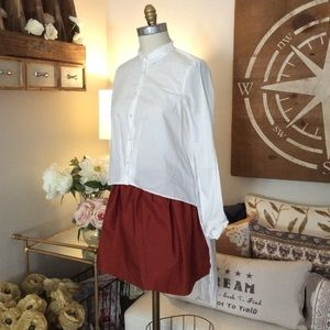 Zara White hi low button up top new